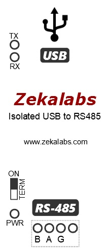Isolated USB-RS485 converter Zekalabs